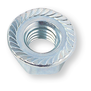 Serrated nut similar DIN 6923 / EN 1661, M 4, steel 8, zinc plated